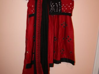 1 Red & Black Chaniya Choli (Size: Kids)