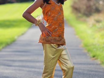 10 Orange Tops (Size: Kids) 9 Gold Leggings (Size: Kids)