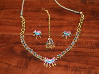 1 Blue and Purple Necklace with Earring and Tika